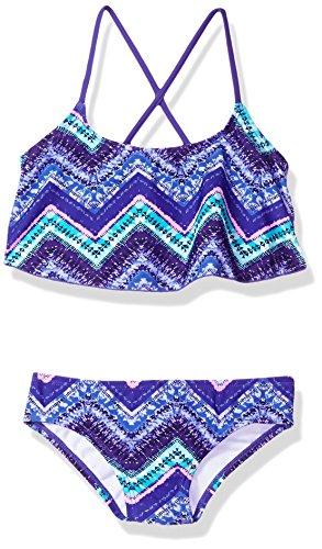 Kanu Surf Big Girls' Karlie Flounce Bikini Beach Sport 2-Piece Swimsuit, Kirsten Purple Chevron, 10