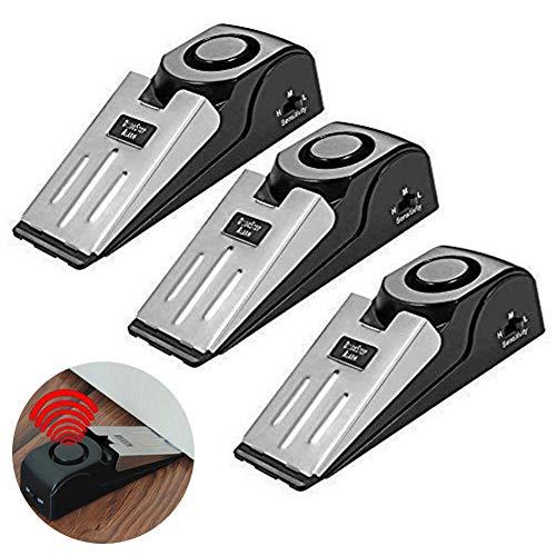 Prettywan 3 Pack Wedge Door Stop Alarm with 120 dB Great for Traveling DIY Home Apartment Security Door Stopper Doorstop Safety Tools
