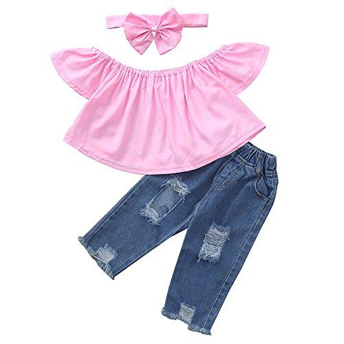 WOCACHI Baby Girls 3PCS Sets Off Shoulder Crop Tops + Hole Denim Pant Jean Headband Toddler Kids Clothes Spring Deals -