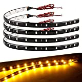 yellow under car led lights - EverBright 4PCS Super Bright Amber 30CM 5050 12-SMD DC12V Flexible Waterproof LED Strip light For Car Interior & Exterior Decoration Boat,Bus,Garden,Events Christmas & New Year Brithday Parties LED Strip Light