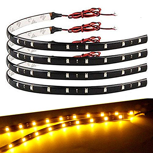 EverBright 4-Pack Amber/Yellow 30CM 5050 12-SMD DC 12V Flexible LED Strip Light Waterproof Car Motorcycles Decoration Light Interior Exterior Bulbs Vehicle DRL Day Running with Built-in 3M Tape