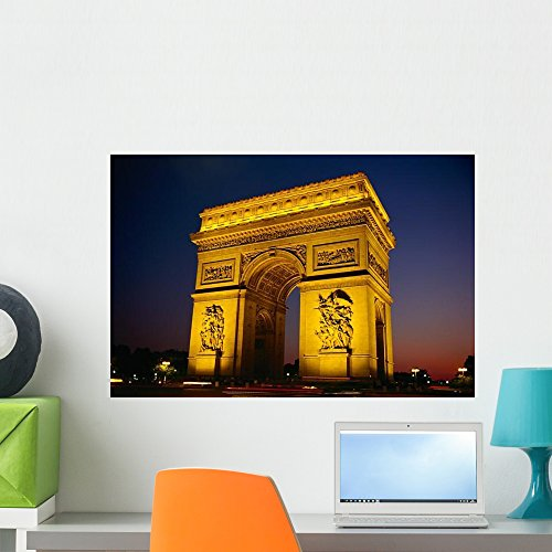 Wallmonkeys Arc De Triomphe De L'etoile Illuminated at Night Wall Decal Peel and Stick Graphic WM159272 (24 in W x 16 in H)