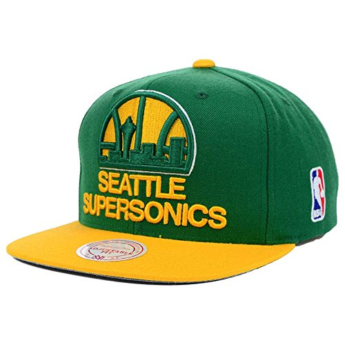 Mitchell & Ness Seattle Supersonics Snapback Hat (XL Logo 2 Tone)
