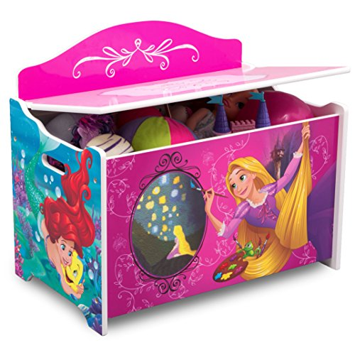 Pink Girls Disney Princess Toy Box Storage Chest Bin