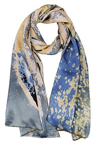 "Price comparison product image ELEGNA Women 100% Silk Art Collection Scarves (Gustav Klimt""Kiss"")"
