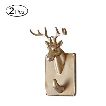 LEEQ Colgador de Puerta Adhesivo para Toallas de Ropa, Resina, diseño de Cabeza de Animales, 2 Unidades, Color Deer(Deer): Amazon.es: Hogar