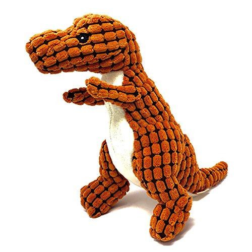 Petpany w14 Dog Toys Dinosaur Sound Toys pet Dog,Puzzle Plush Replacement Animals,Puppy Behavioral Aid Toy, Resistant to Bite Bone Dog Puppy Molars (Orange, Dinosaur)