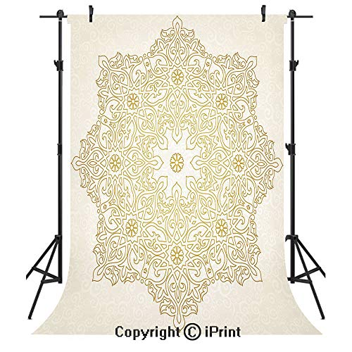 - Gold Mandala Photography Backdrops,Antique Lace Pattern Blooming Asian Garden Theme Filigree Style Traditional Decorative,Birthday Party Seamless Photo Studio Booth Background Banner 5x7ft,Coconut Gol