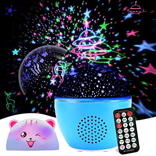 Night Light Projector, GEEHOOD Kids Star Projector Remote Timer lamp with Bluetooth Speaker, for Baby Bedroom, Birthday…