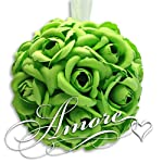 6-Inches-Wedding-Silk-Pomander-Kissing-Ball-Decor-Apple-Green-Lime