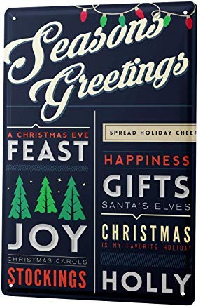 Fred12erica Aluminum Sign, Retro Sign Vintage Tin Sign Metal Wall Plaque PosterRetro Seasons Greetings 8