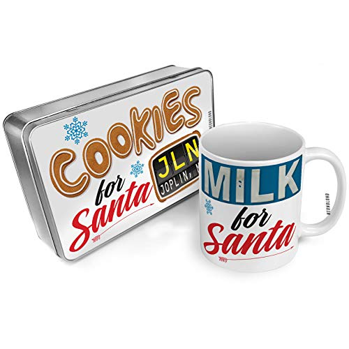 NEONBLOND Cookies and Milk for Santa Set JLN Airport Code for Joplin, MO Christmas Mug Plate Box ()