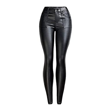 b894ad23cb73 EVEDESIGN Women's Tight Slim Fit PU Pants Faux Leather Mid Waisted Pant  Sexy Punk Shaping Leggings