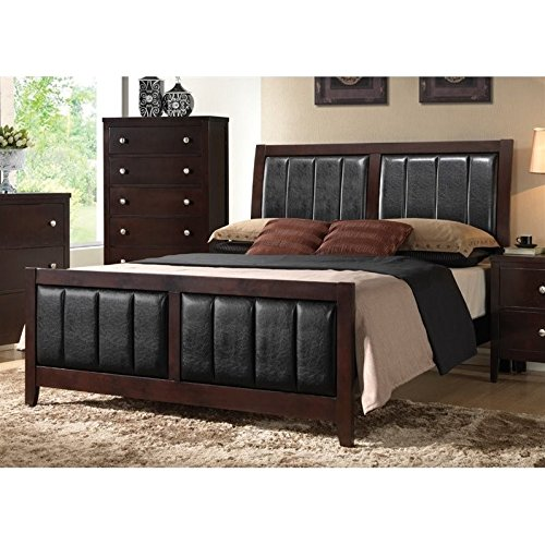 (Coaster 202091Q-CO Carlton Queen Size Panel Bed with Black Padded Leatherette Tapered Legs Solid Wood and Veneers Construction, In Cappuccino)