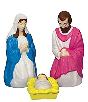 Trim a Home Lighted Christmas Nativity Blow Molded Set, 28 In