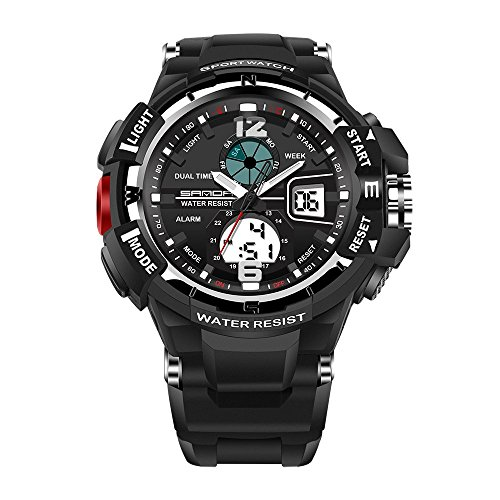 Men Watches Waterproof ! Hessimy Men's Digital Sports Wrist Watch LED Screen Large Face Electronics Military Watches Waterproof Alarm Back Light Outdoor Casual Luminous Simple Army Watch Deep Diver Silver Dial
