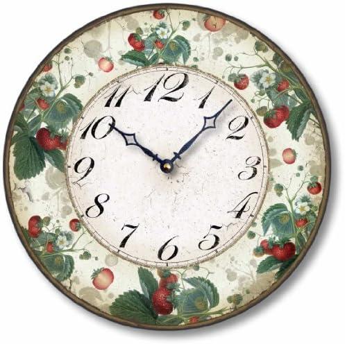 Fairy Freckles Studios Item C6006 Antique Style 12 Inch Botanical Strawberry Clock