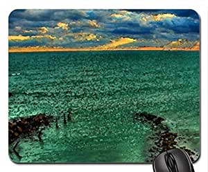 gorgeous green sea at sunset hdr Mouse Pad, Mousepad (Oceans Mouse Pad, Watercolor style) by supermalls