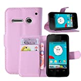 Sannysis Leather Wallet Pouch Flip Cover For Vodafone Smart 4 Mini (Pink)
