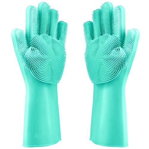 Magic Reusable Dishwashing Cleaning Sponge Gloves Silicone Brush Scrubber Gloves Heat Resistant for Dishwashing Bathroom…