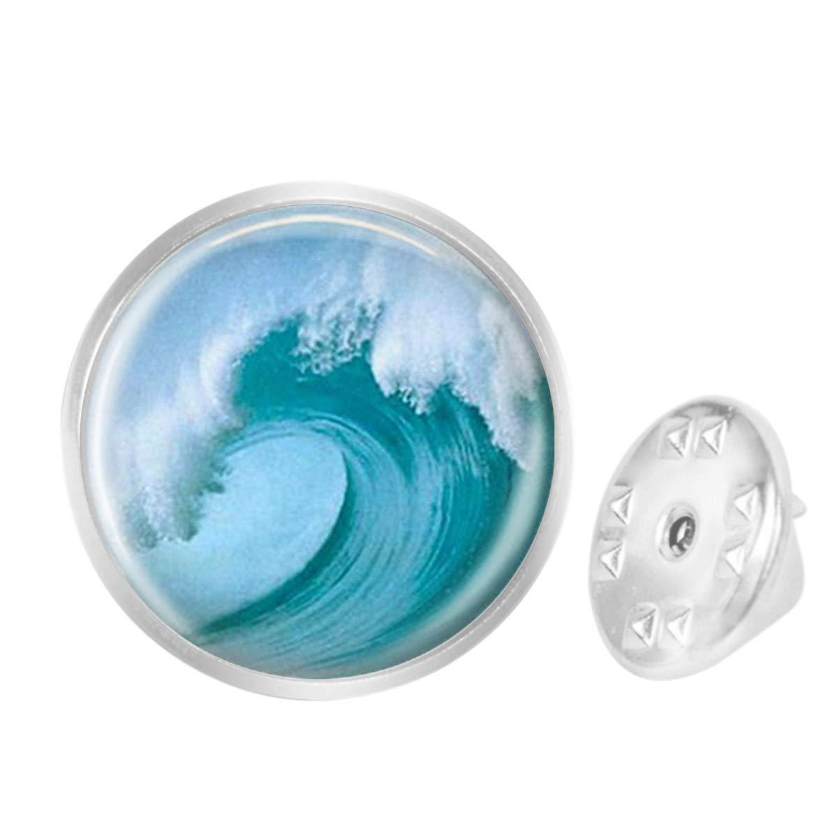 Custom Lapel Pin Brooches Tidal Wave Beach Tsunami Ocean Surfer Nautical Art Banquet Badge Pins Trendy Accessory Jacket T-Shirt Bag Hat Shoe