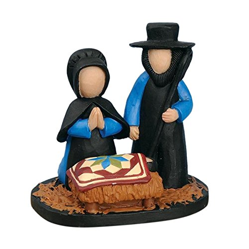 Blossom Bucket Amish Nativity Figurine Christmas Decor, 3-1 4 High
