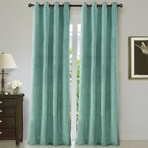 ComforHome Solid Soft Velvet Window Curtain Grommets Drapes Aqua Marine 52