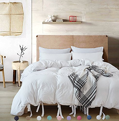 Meaning4 Queen Size Duvet Cover Set with Bowknot Bow Tie Ribbon Butterfly Bowtie Polyester White 3 pcs(1 duvetcover + 2 Pillowcase)
