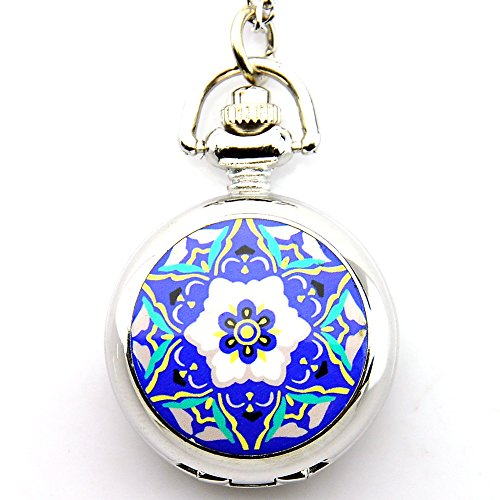 Chinese Blue and White Porcelain Style Silver Pendant Quartz Pocket Watch. Quartz Silver Pendant Watch