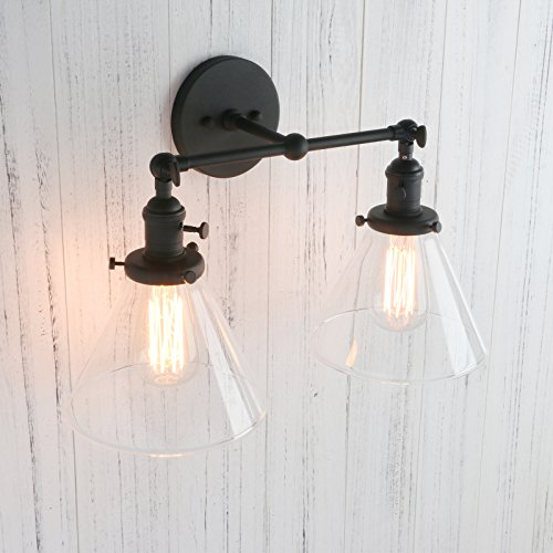 Permo double sconce vintage industrial antique 2 lights wall sconces with funnel flared glass clear glass shade