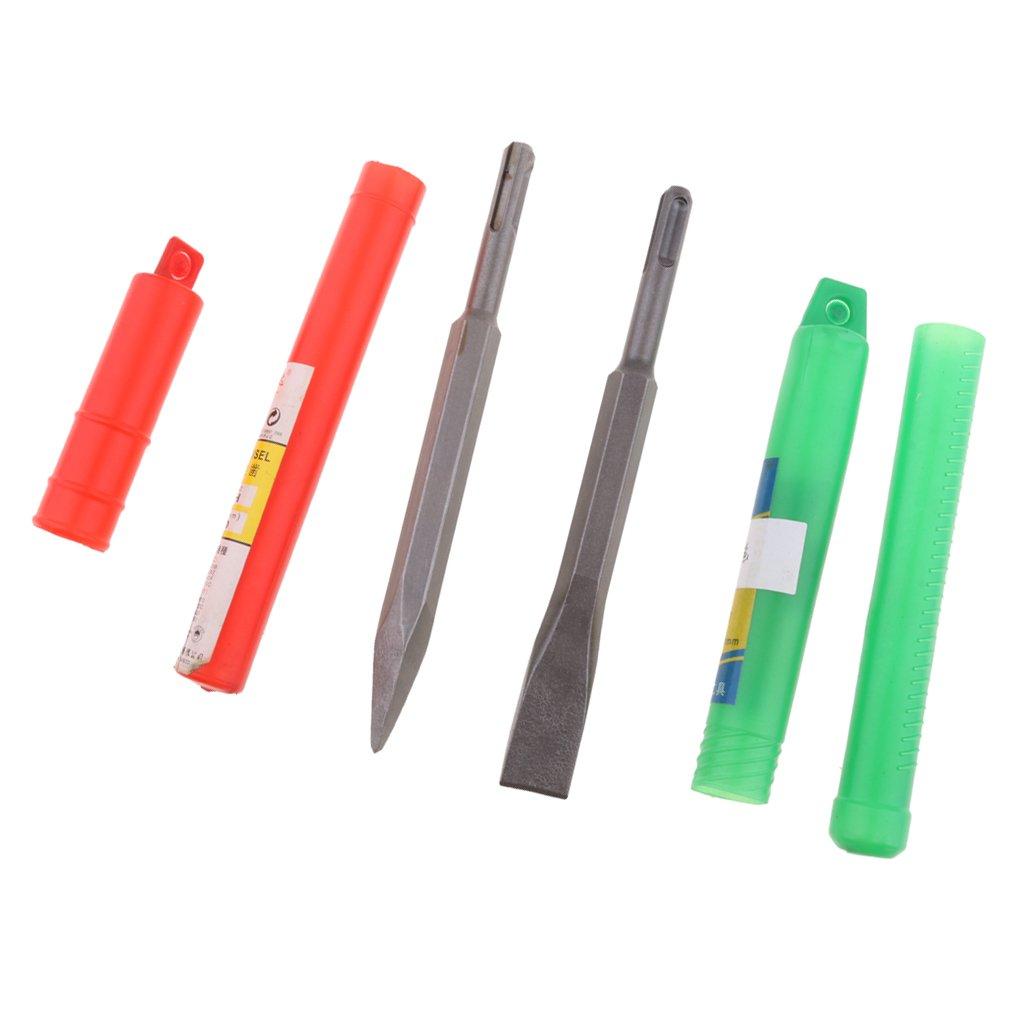 Sharplace Ensemble Burin /à Point et Plat Rotatif Poign/ée Ronde Ciseau Marteau /Électrique Pi/èce Fixation