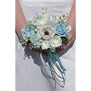 Real Touch White & Light BLue Anemone Wedding Mini Posy Bouquet 90