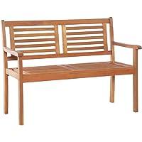 vidaXL Solid Eucalyptus Wood 2-Seater Garden Bench Weather Resistant Outdoor Lounge Seat Backyard Armchair Patio…
