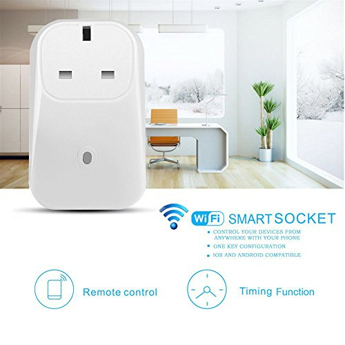 URANT WiFi Smart Plug Wireless Remote Control Socket Electrical Outlet Switch Digital Timer Power with 3 Modes Control Devices From Anywhere via Free Android/iOS APP (Control Christmas Tree Lights)