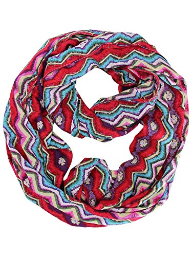 Red Multicolor Tribal Zigzag Infinity Scarf