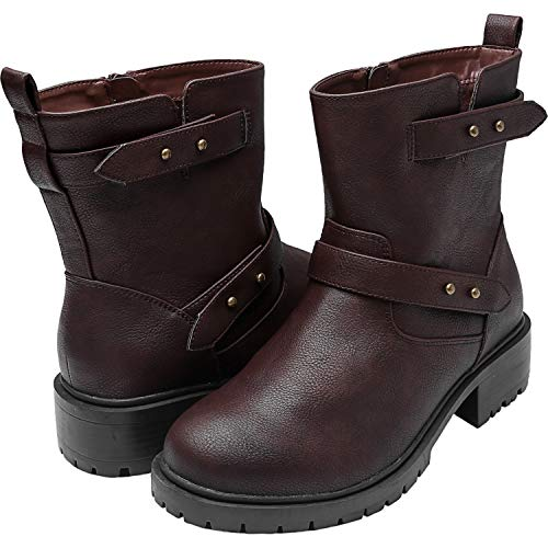 (Women's Wide Width Mid-Calf Boots, Chunky Block Low Heel Back Pull-tabBuckle Slip On Side Zipper Cozy Comfortable Work Shoes.(180718 Brown)