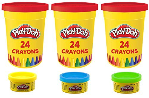 3-Pack Play-Doh 24ct Crayons with 1oz Can of (1 Ounce Cans)