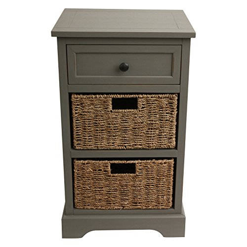 Stylish Storage Chest With Classic Design With Casual Touches, Two Woven Seagrass Baskets Plus A Single Drawer, Wood Construction, Easy Assembly, Perfect For Coastal Living Spaces, Multiple Colors ()