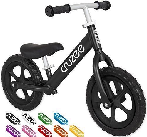 Cruzee UltraLite Balance Bike (4.4 lbs) for Ages 1.5 to 5 Years | Black BW– Best Sport Push Bicycle for 2 3 4 Year Old Boy & Girl– Toddler Kids Skip Tricycle on Lightest No Pedal First Flyer 1
