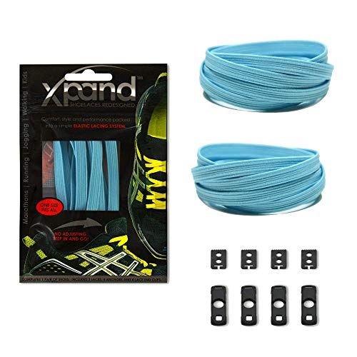Xpand No Tie Shoelaces System with Elastic Laces - Baby Blue - One Size Fits All Adult and Kids Shoes ()