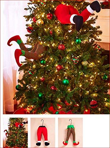 santa and elf stuck in christmas tree stuffed pants decor - Order Of Decorating A Christmas Tree