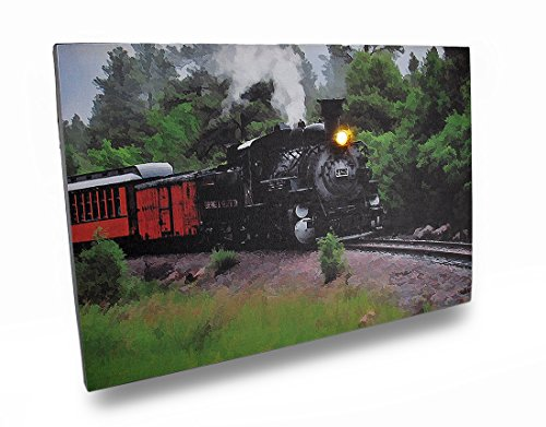 Train Engine Canvas (Canvas Prints Flickering Led Steam Engine Train Scene Canvas Wall Hanging 18 X 12 X 1 Inches Multicolored)
