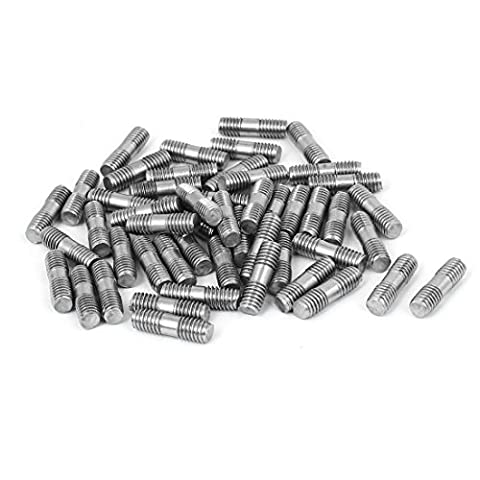 uxcell M6x20mm 304 Stainless Steel Double End Threaded Stud Screw Bolt 50pcs - Stud Bolt Length