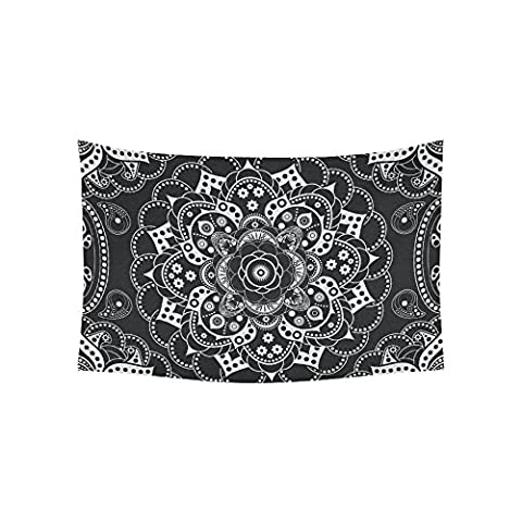 Interestprint Indian Hippie Hippy Black And White Medallion Mandala Tapestry Wall Hanging Tribal Bohemian Boho Batik Henna Wall Decor Art Cotton Linen for Home Decoration 60 X 40 - Batik Wall Art