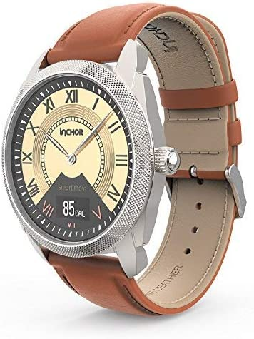 InChor Hybrid Smart Watch Stainless Steel with Leather Strap, Heart Rates,Sleep, Blood Pressure Monitor,Calorie Distance Counter Pedometer,Event Vibrates Reminder Fitness Tracker Smartwatch 1