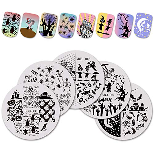 BEAUTYBIGBANG 5Pcs Nail Art Stamping Plate Halloween Skull Flower Summer Manicure Image Plate DIY Nail Print Tool
