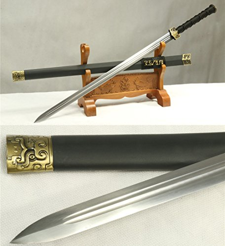1060 CARBON STEEL HANDMADE FULL TANG BLADE BLACK DRAGON CHINESE SWORD