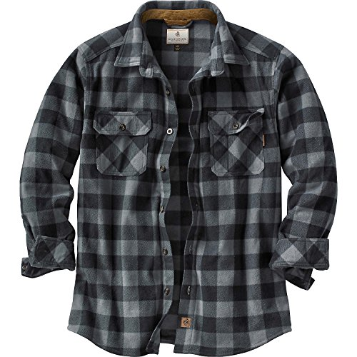 (Legendary Whitetails Men's Navigator Fleece Button Up Graphite Plaid X-Large)