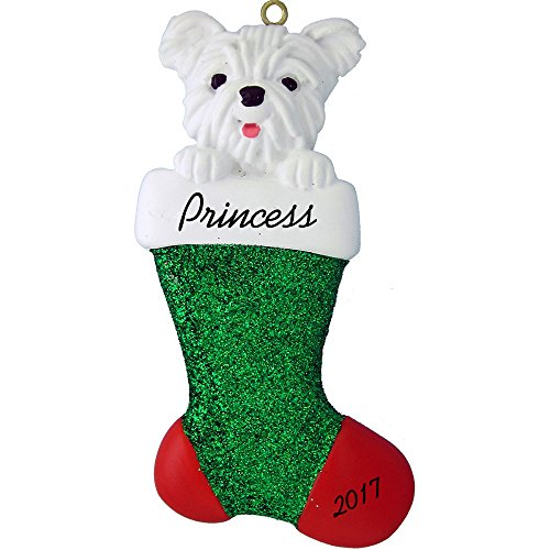 Calliope Designs Dog in Stocking Personalized Christmas Ornament (Westie) - Handpainted Resin - 4