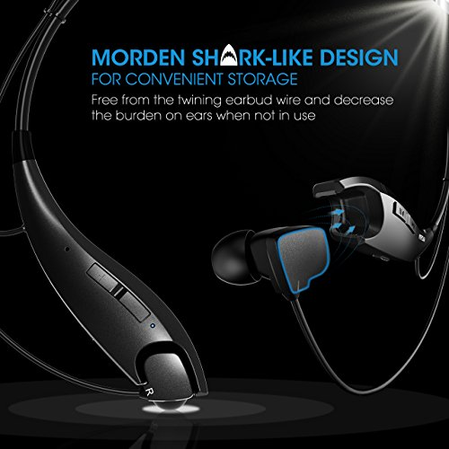 Mpow Jaws Gen-4 Bluetooth Headphones Wireless Neckband Headset V4.1, w/Call Vibrate Alert, Carrying Bag, Built-in Mic, for Cell Phone/Tablets/TV- Black